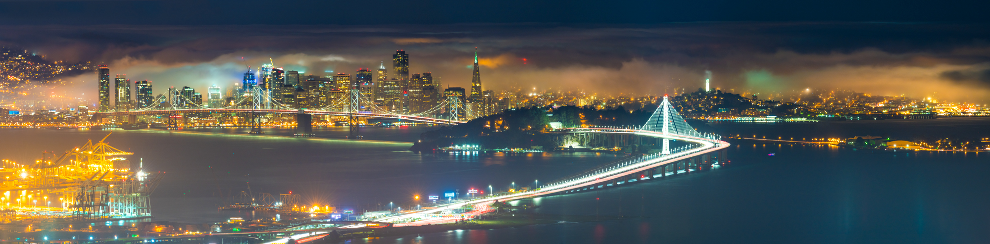 Oakland Hills San Francisco East Bay Fog Bay Bridge Emeryville Berkeley Grizzly Peak Skyline Drive Panorama Fine Art Landscape Photography Mark Lilly
