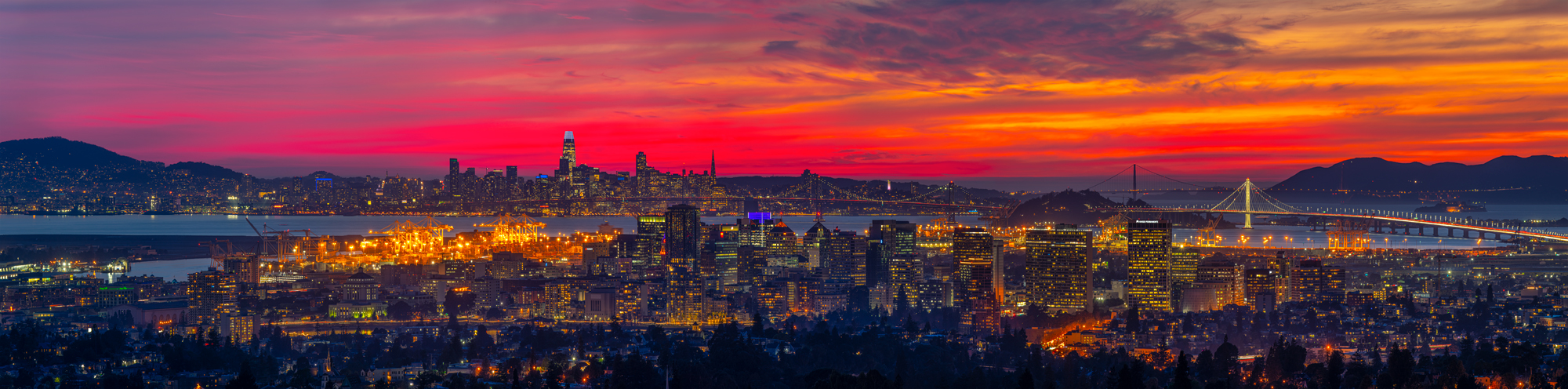 San Francisco Twin Peaks Market Street Transamerica Pyramid Panorama Fine Art Landscape Photography Mark Lilly