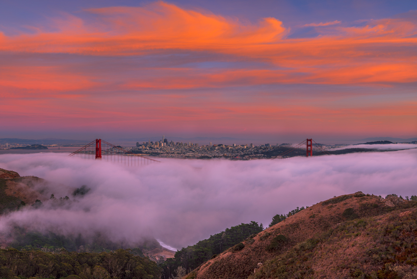 Marin Headlands Golden Gate Bridge San Francisco Bay Area California Slacker Hill Ridge Fog Fine Art Landscape Photography Mark Lilly